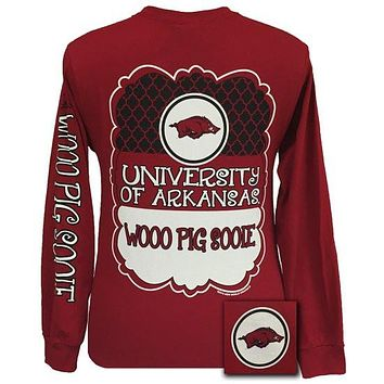 SALE Arkansas Razorbacks Preppy Classy Frame Logo Long Sleeves T Shirt
