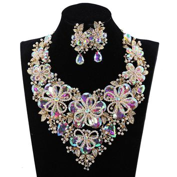 Wedding Party Luxury Pearl Flowers Statement Necklace Drop Earrings Set Crystal Prom Jewelry set