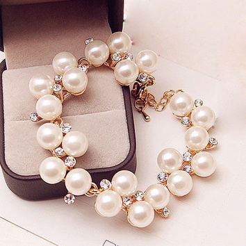 Charm Gold Plated Simulated Pearl Crystal Beads Wedding Chain Bracelet