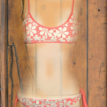 pink lace & Lycra bikini by saravah on Etsy