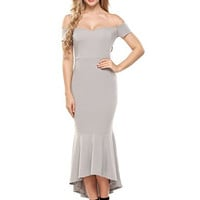 ANGVNS Women's Evening Dress Off Shoulder Flouncing Mermaid Formal Prom Gowns