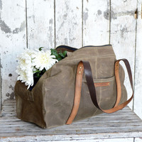 The Journey Bag. Waxed canvas and WWII leather by Peg and Awl