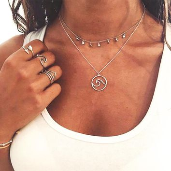 Sexy Coin Layered Silver Necklace Choker Stainless Steel Wave Seagull Bird Pendant Necklace For Women Best Friend Boho Jewelry