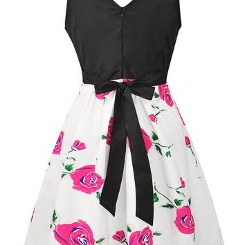 Streetstyle  Casual Round Neck Bowknot Delicate Floral Printed Skater Dress