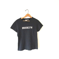 Wms Vintage 90's BROOKLYN New York NYC Black Fitted 100% Cotton Cap Sleeve Grunge BABYDOLL Tee Sz Small