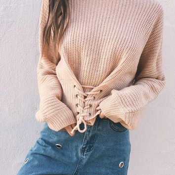 DCCKH3L Women Solid Color Bandage Long Sleeve Sweater Short Knitwear Tops