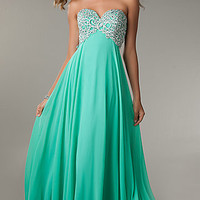 Floor Length Empire Waist Strapless Sweetheart Dress