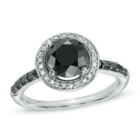2-3/4 CT. T.W. Enhanced Black and White Diamond Frame Ring in 10K White Gold