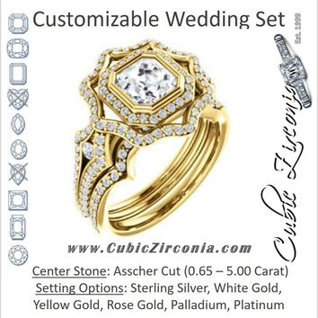 CZ Wedding Set, featuring The Arya engagement ring (Customizable Asscher Cut with Ultrawide Pavé Split-Band and Nature-Inspired Double Halo)