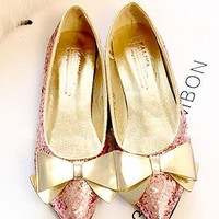 Bling Bowknot Paillette Pointed-toe Loafers