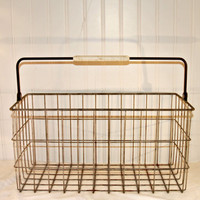 Rustic, Industrial Vintage Rectangular Handled Wire Basket, Unusual Size, Office, Craft Room, Kitchen Storage, Home Decor, Toy Basket