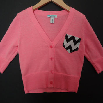 New Girls XS(5) Pink 3/4 Sleeve Chevron Pocket Cardigan Super Cute Free Shipping