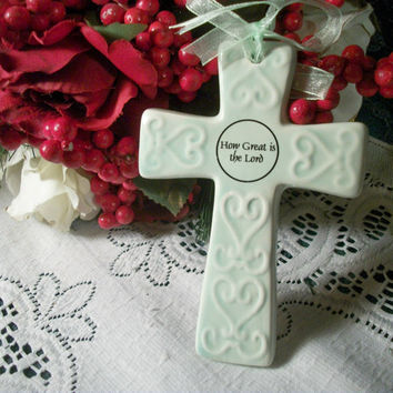"Ceramic Cross Christian Home Decor Wall Hanging White Mint Green 5"" Ornament Easter Decoration"