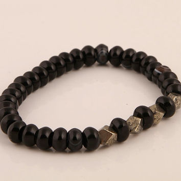 Mens Bracelet, Onyx and Pyrite, Gemstone, Mens Jewelry, Gift Idea, Gemstone Bracelet, Onyx, Pyrite, Yoga, Boho, Gift for him, Hippie,