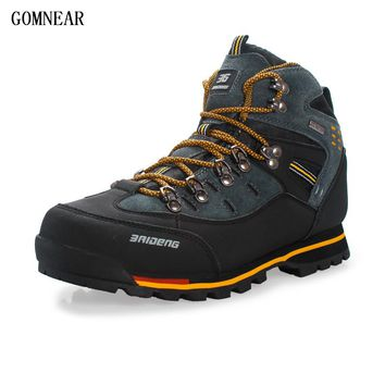 GOMNEAR Men's Trend Hiking Shoes Waterproof Fishing Outdoor Antiskid Trekking Hunting Sport Shoes Climbing Hiking Boots For Male