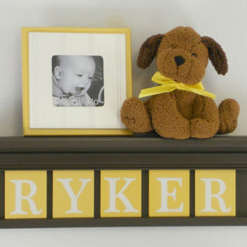 "Yellow Baby Boy Nursery Decor - Gift for RYKER - Personalized 24"" Chocolate Brown Shelf 5 Wooden Wall Letters Plaques"