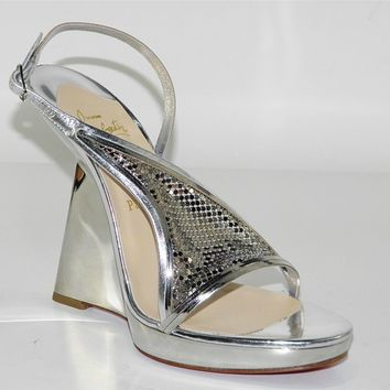CHRISTIAN LOUBOUTIN Roxy Muse Specchio Chain-Maille Wedge Sandal Shoe 39 NIB