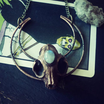 Moon crescent with cat skull and moonstone pendant unisex of occultism and magic