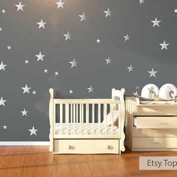 Wall Stickers, 120 Silver Metallic Stars Nursery Wall Decals/Wall Stickers, Babies Wall Art Decal , Vinyl, Wedding, Wallpaper Art Decor