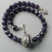 Amethyst Gemstone & Purple Focal Bead Necklace - Chunky Bold Statement Jewelry
