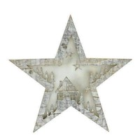 """10"""" Battery Operated LED Lighted Rustic Wooden Star Christmas Decoration - House"""