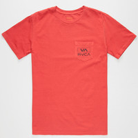 Rvca Rec Va Mens Pocket Tee Red  In Sizes