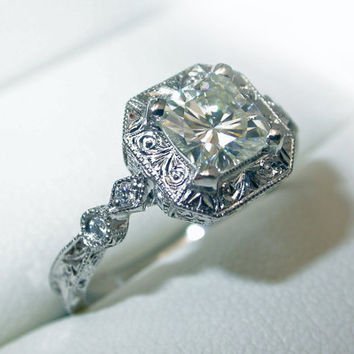 14K White Gold Hand Engraved Moissanite Engagement ring