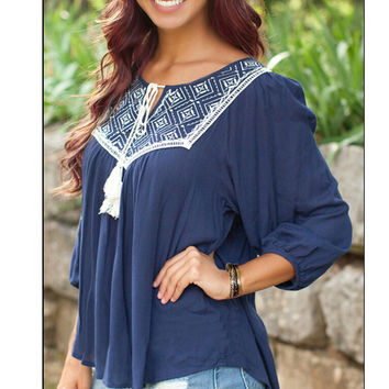 Summer Casual Design Three-quarter Sleeve Ruffle Tassels Tops Pendant [7322496449]