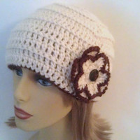 Flower Hat, Off White and Brown Womens Crochet Beanie