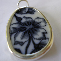 Broken China Necklace Pendant  Chaney Sterling Black Flower  Pendant  Fused Glass