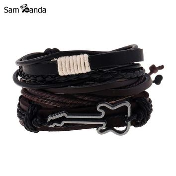 9 Styles Fashion Jewelry Alloy Guitar Bracelet Hemp Rope Woven PU Rivet Beaded Leather Bracelet Men Casual Vintage Punk Bracelet