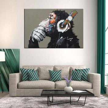 Musical Thinking Monkey With Headphone Wall Art on Canvas