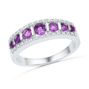 10kt White Gold Womens Round Lab-Created Amethyst Band Ring 3/4 Cttw 100479