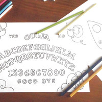 ouija board coloring weegee adult whimsical halloween gothic pentacle spirit board download occultism diy pastel goth witch lasoffittadiste