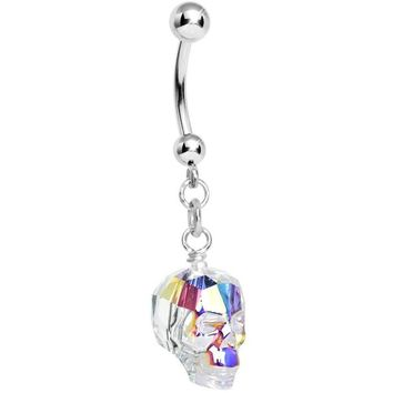 Aurora Crystal Skull Dangle Belly Ring Created with Swarovski Crystals