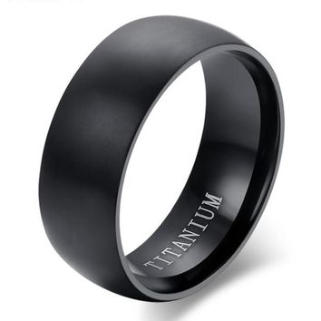 Men's Black Titanium Ring Matte Finish