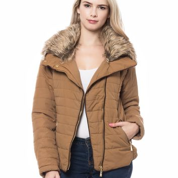 LE3NO Womens Quilted Long Sleeve Padded Puffer Jacket with Faux Fur Collar