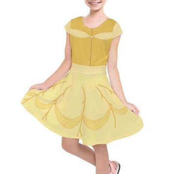 Kid's Belle Beauty and the Beast Inspired Short Sleeve Dress