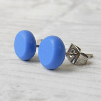 Small Blue Stud Earrings, Dainty Earrings, Modern Jewelry, Everyday Jewelry, Mens Studs - CB1423
