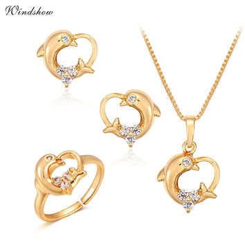 Yellow Gold Plated CZ Heart Dolphin Charm Pendant Necklace Earrings Ring Small Jewelry Sets for Women Girls Kid Children