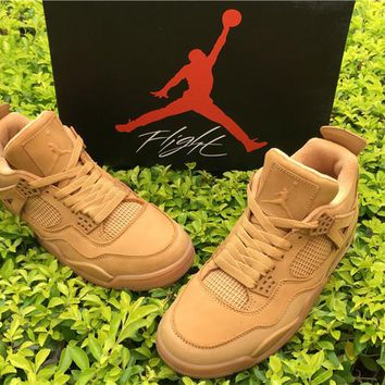 Air Jordan 4 Wheat Suede Basketball Shoes 40-47