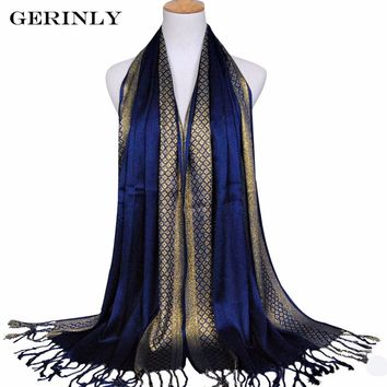 GERINLY Women Scarf Plain Fashion Print Glitter Tassel Cotton Lurex Plaid Stripe Shawls Scarves Long Hijab Muslim Scarf 14 Color