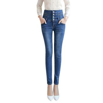 HIBAY Women Jeans Denim Pencil Pants High Waist Skinny Stretch Pants Trousers Plus Size 2017
