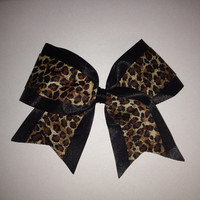 Leopard Print Cheer Bow by TheFiercestFandom on Etsy