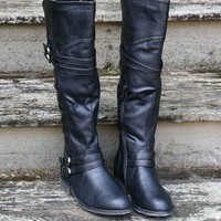 Road Maps Black Tall Boots With Low Heel & Cross Strap Details