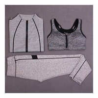 Woman Running Sports Fitness Yoga Clothes 3pcs Set   light grey    S