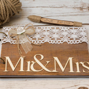 Wedding Guest Book Rustic Guest Book Wooden Guestbook Wood Rustic Wedding Mr Mrs Guest Book