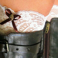 White Ivory  Lace Bow Boot Cuffs