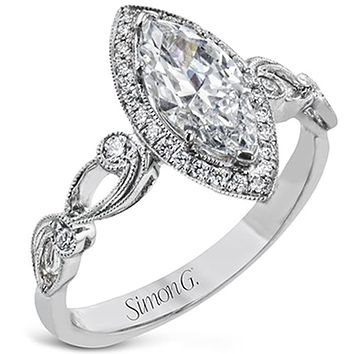 Simon G. Marquise Halo Vintage Style Floral Engagement Ring
