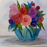Watercolor flowers, watercolor flower arrangement, blue and red, Original still life  floral bouquet, Bright cheerful colors